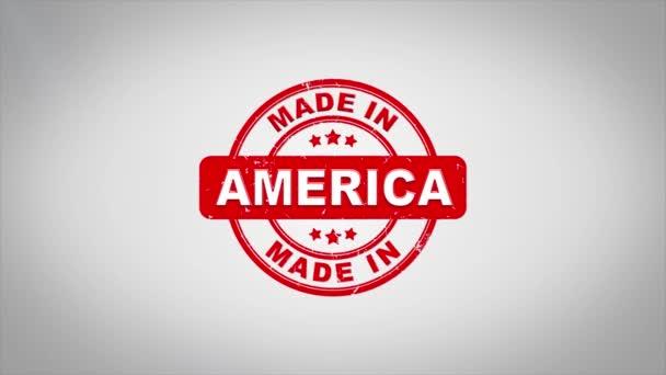 V Americe podepsal, lisování dřevěné razítko animace textu.