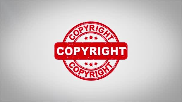 Copyright podepsal razítkování dřevěné razítko animaci textu.