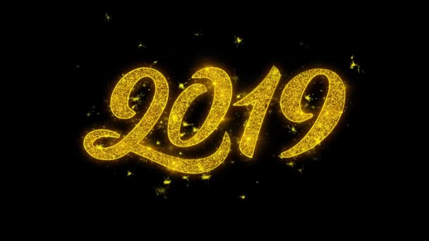 Gelukkig Nieuwjaar 2019 Typografie Geschreven Met Gouden Deeltjes