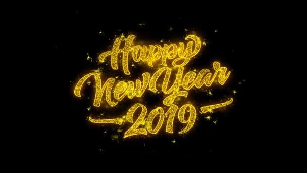 Šťastný nový rok 2019 typografie napsal s zlatými částicemi jisker ohňostroje