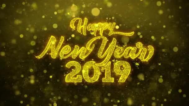 Neujahrswunsch 2019 Glückwunschkarte, Einladung, Festfeuerwerk.