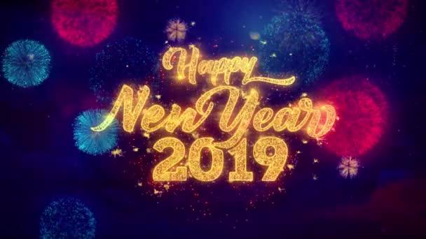 Nový rok 2019 pozdrav text třpytivé částečky na barevný ohňostroj