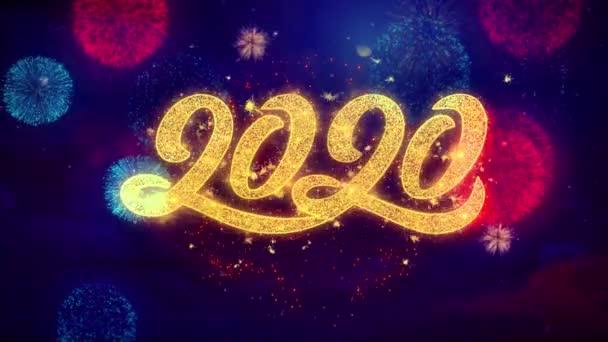 Šťastný nový rok 2020 pozdrav text třpytivé částečky na barevný ohňostroj