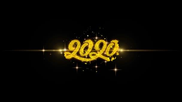 Šťastný nový rok 2020 zlatý Text blikající částice s zlaté ohňostroje displej pozadím