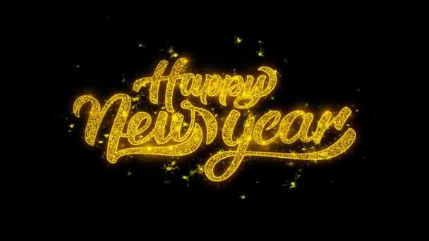 šťastný nový rok krásné animace z prskavky Gold lesk zářící zobrazuje Text na černý 4k. Blahopřání, oslava, večírek pozvánky, kalendáře, události, zprávy, dárek, přání svátek