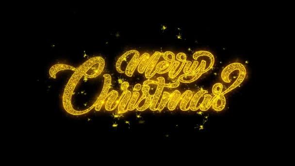 Veselé Vánoce typografie napsal s zlatými částicemi jisker ohňostroje