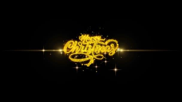 Veselé Vánoce Vánoční zlatý Text blikající částice s zlaté ohňostroje displej pozadím