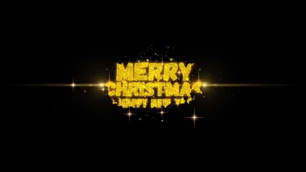 Veselé Vánoce a nový rok Text blikající částice s zlaté ohňostroje displej pozadím