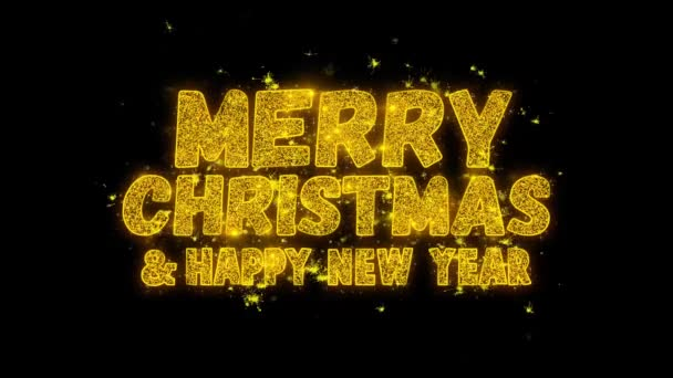 Veselé Vánoce a nový rok typografie napsal s Golden částice jisker ohňostroje