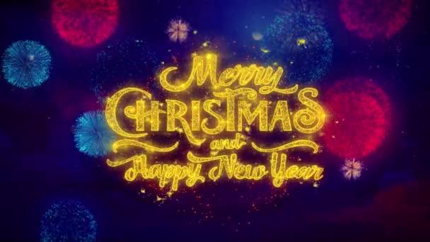 Kellemes karácsonyi ünnepeket és új évet üdvözlő szöveg szikrázó részecskéket a tűzijáték. 2