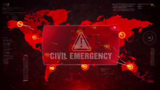 Civil Emergency Alert Warning Attack on Screen World Map Loop Motion