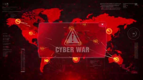 Cyber War Alert Warning Attack on Screen World Map Loop Motion ...