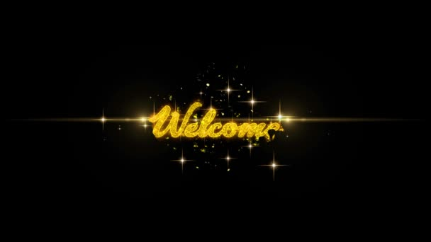 Üdvözöljük a Golden szöveg villogó részecskék arany tűzijáték 1
