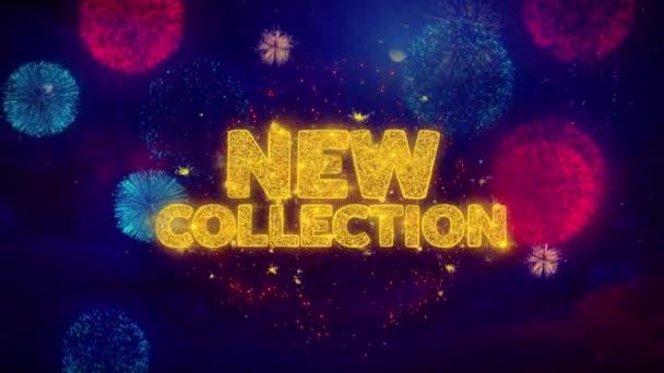 Nová kolekce pozdrav Text Sparkle částice na barevný ohňostroj