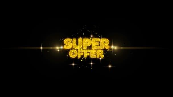 Szuper ajánlat arany szöveg villogó részecskék arany tűzijáték
