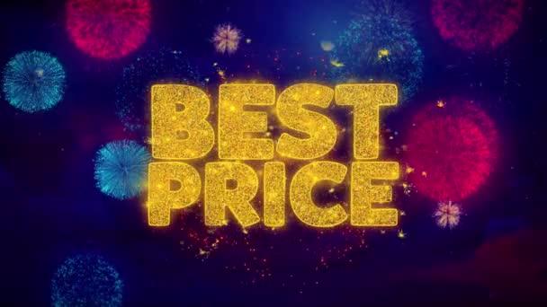 Nejlepší cena pozdrav Text Sparkle částice na barevný ohňostroj