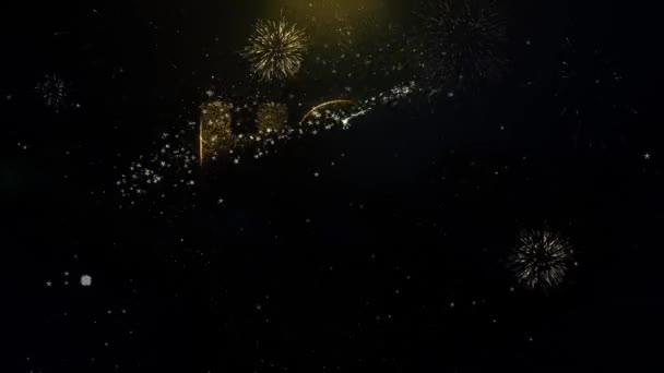 Forró eladó írt arany csillogó részecskéket szikra robbanó tűzijáték 4k. Üdvözlőlap, ünneplés, meghívó, naptár, ajándék, események, üzenet, ünnep, fesztivál kívánja .