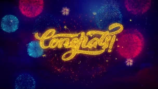 Gratula üdvözlő szöveg szikrázó részecskéket a színes tűzijáték
