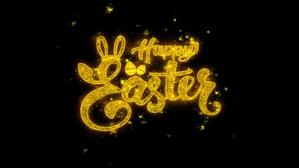 Frohe Ostern Typografie mit goldenen Teilchen funkt Feuerwerk 4k geschrieben. Grußkarte, Feier, Party-Einladung, Kalender, Geschenk, Veranstaltungen, Nachricht, Urlaub, Wunschfest .