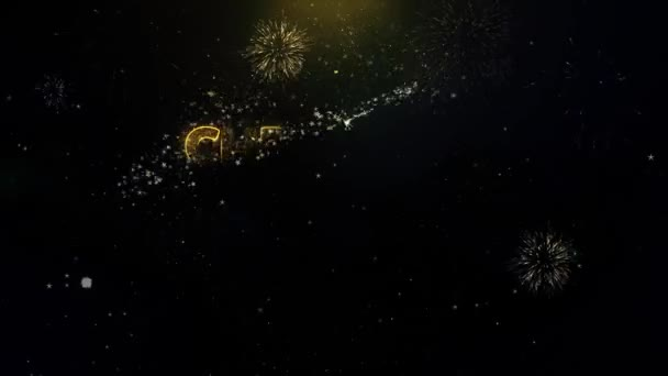 Christmas Sale Written Gold Particles Exploding Fireworks Display