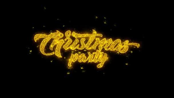 Vánoční večírek typografie napsal s zlatými částicemi jisker ohňostroje