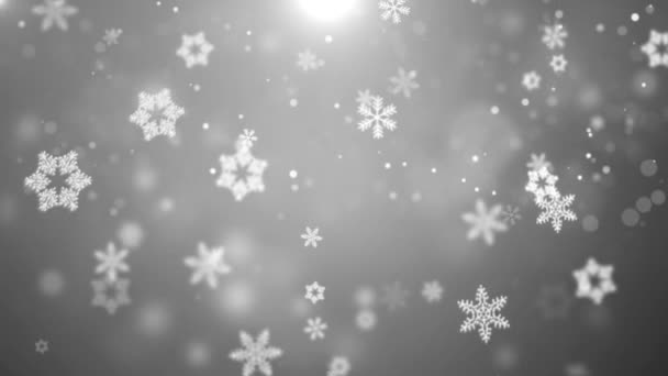 White Christmas Snow Background.White Christmas Background With White Snow Snowflakes Loop Alpha Green Screen Animation