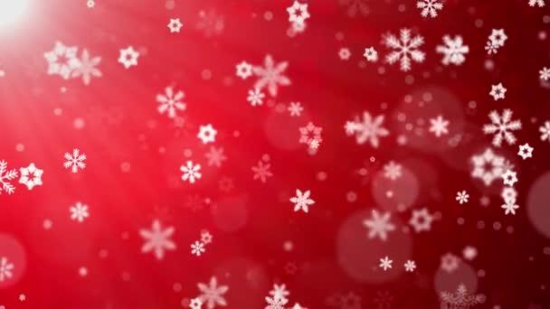 Natale sfondo Redtheme, con scintillanti fiocchi di neve caduta e luci