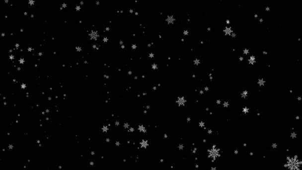 Vánoční pozadí modré téma, s třpytícím se sněhové vločky padající a světla