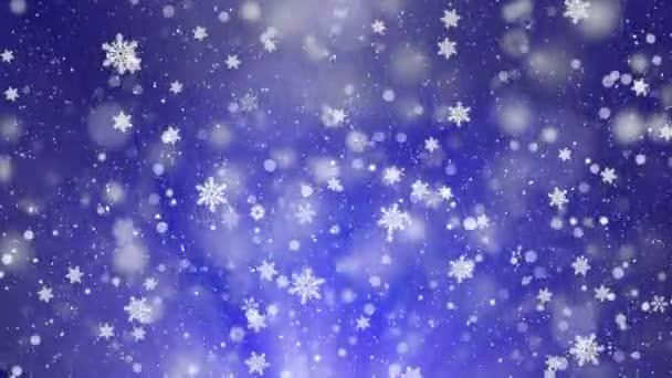 Kék fehér hó hópelyhek keret háttér. Hó havazás hópehely részecskék zökkenőmentesen hurok fekete alfa zöld képernyő élénkség