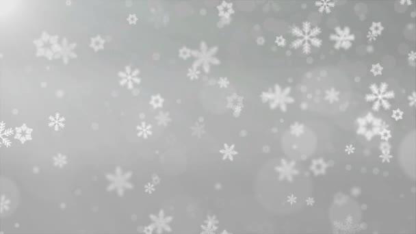 Vánoční pozadí červená téma, zářivé sněhové vločky padající a světla. Částice sněhová vločka sněžení bezproblémově smyčky černé alfa fabion animace
