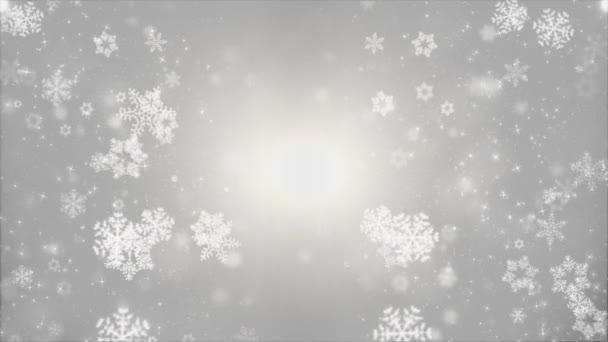 Padající bílé šedé hladké zpomalené vločky vliv pohybu