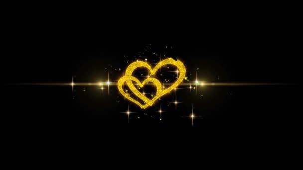 Valentinky den lásky a srdce zlaté pozdrav částice s Golden ohňostroj 4k pro blahopřání, oslava, pozvánky, kalendáře, události, zprávy, dárek, přání svátek
