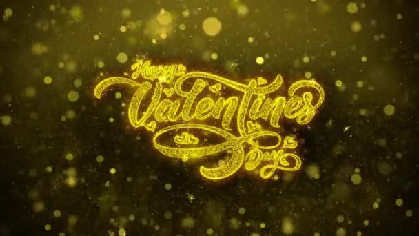 glückliche Valentinstag Liebe Grußkarte abstrakte blinkt goldene funkelt glitzert Feuerwerk Partikel Schleife Hintergrund. Geschenk, Karte, Einladung, Feier, Veranstaltungen, Botschaft, Feiertag, Fest