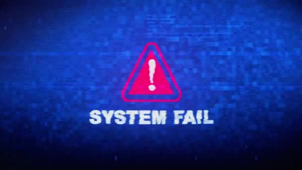 System Fail Text Digital Noise Twitch Glitch Distortion Effect Error Animation.