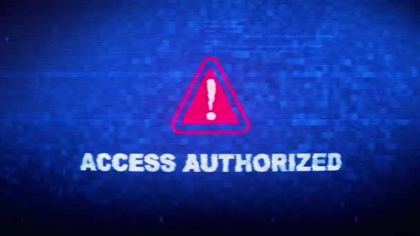 Access Authorized Text Digital Noise Twitch Glitch Distortion Effect Error Loop Animation.