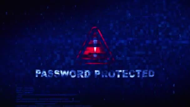 Text chráněný heslem digitální hluk tik, chyba zkreslení efekt smyčka animovaná animace.