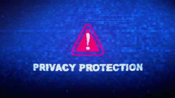 Datenschutz Text Digital Noise Twitch Glitch Verzerrungseffekt Fehlerschleifenanimation.