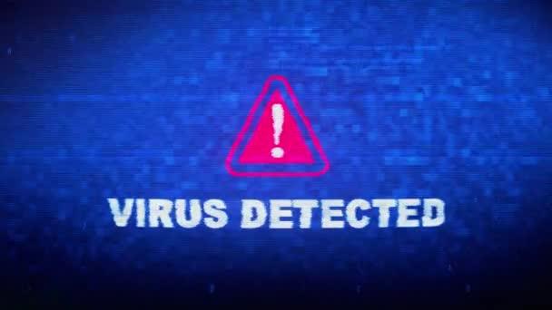 Virus Detected Text Digital Noise Twitch Glitch Distortion Effect Error Loop Animation.