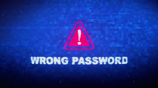 Wrong Password Text Digital Noise Twitch Glitch Distortion Effect Error Loop Animation.