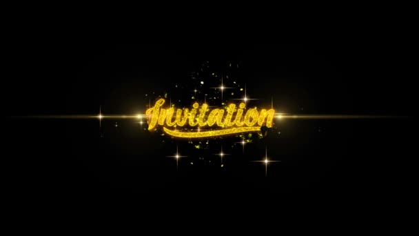 Invitation Golden Text Blinking Particles with Golden Fireworks Display