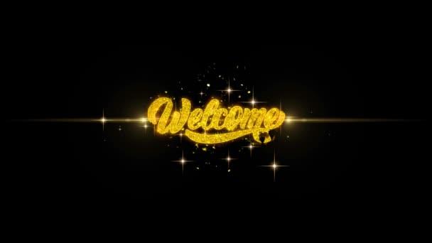 Vítej zlatý Text blikající částice s Golden ohňostroj