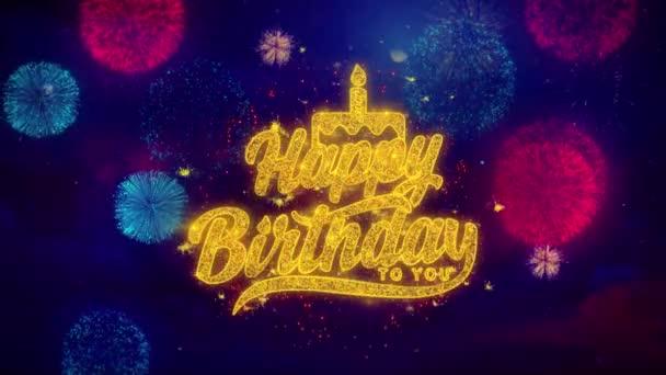 Šťastné narozeniny vám text pozdrav jiskřící částice na barevném ohňostroje
