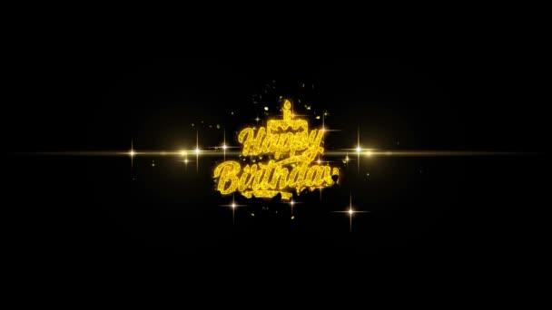 Herzlichen Glückwunsch zum Geburtstag zum goldenen Text blinkende Teilchen mit goldenem Feuerwerk