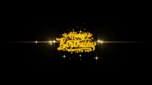 Happy Birthday goldener Text blinkende Teilchen mit goldenem Feuerwerk