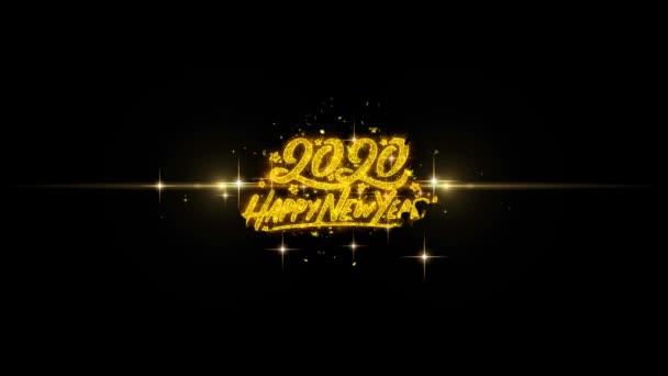 Boldog j évet 2020 arany-szöveg hunyorgó részecske-val arany-tűzijátékok bemutatás