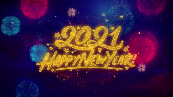 Happy New Year 2021 Greeting Text Sparkle Particles on Colored Fireworks