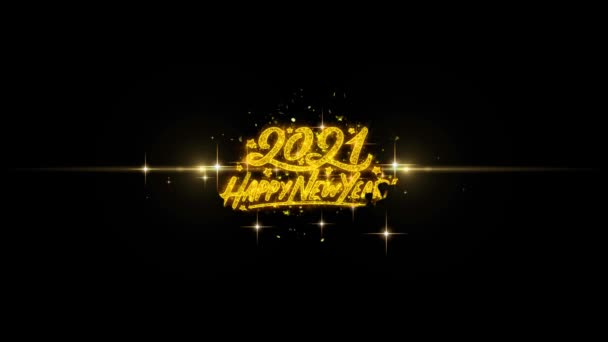 Happy New Year 2021 Golden Text Blinking Particles with Golden Fireworks Display