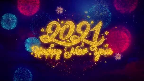 Új év 2021 üdvözlő szöveg Sparkle részecskék színes tűzijáték