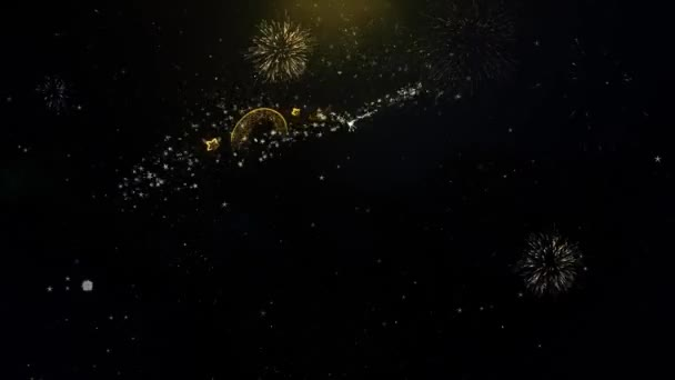 Új év 2021 írásbeli Gold részecske robbanó tűzijáték Display