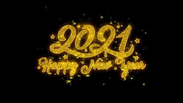 Neujahr 2021 Typografie geschrieben mit Goldenen Partikeln Funken Feuerwerk